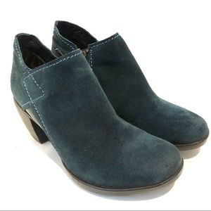 Fly London Hace Heeled Bootie Teal Suede 38 US 8